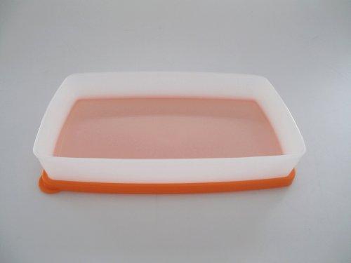 TUPPERWARE Gefrier-Behälter 600 ml orange weiß flach Gefrierbehälter Polarstern