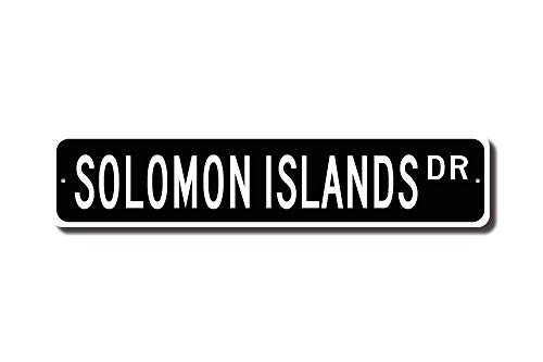 MNUT Metallschild Salomon Islands Geschenk Salomon Islands Schild Souvenir Salomon Islands Indianer Straßenschild 40,6 x 10,2 cm