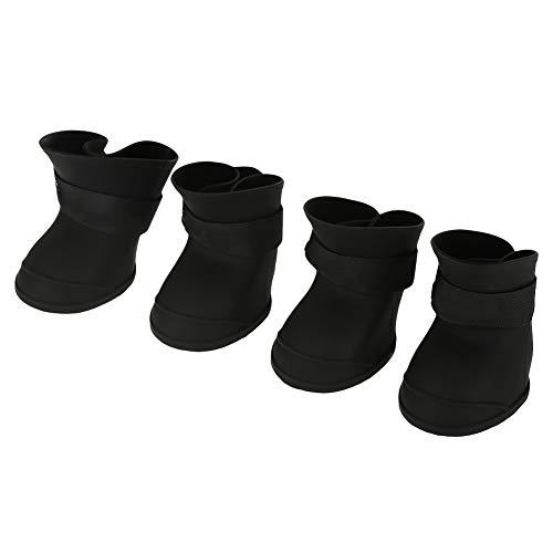 Stivali per Cani, Stivali in silicone per cani di piccola taglia Colori caramelle Scarpe da compagnia impermeabili Scarpe da pioggia antiscivolo per cani Protezioni per zampe per cani Gatti(L-Nero)