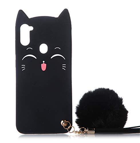Galaxy A11 Cat Case, Galaxy A11 Silicone Case, Fashion Cute 3D Black Meow Party Cat Kitty Kids Girls Lady Protective Cases with Pompom/Strap Soft Case Skin for Samsung Galaxy A11