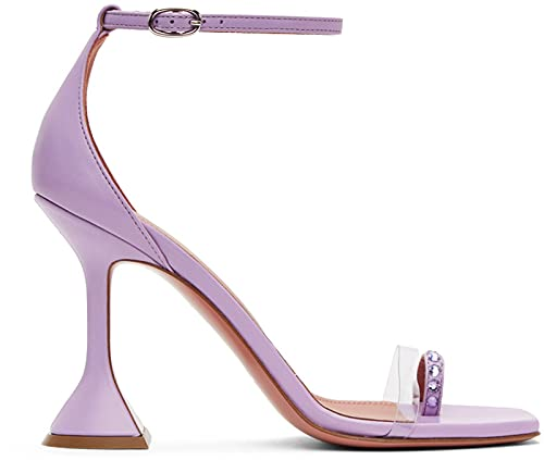 HRN Sandalias de aguja para mujer, copa de vino con diamantes de imitación, zapatos de novia de cuero transparente, morado, 41