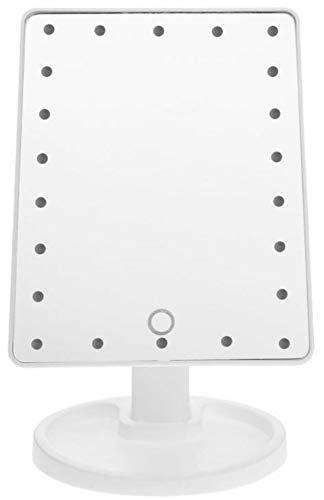 Bingo-Shop Kosmetikspiegel mit LED Licht Tischspiegel Rasierspiegel Schminkspiegel Beleuchtet mit Bleuchtung und Dimmbarer Helligkeit für Schminken Rasieren Gesichtspflege Weiß