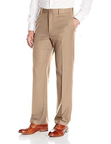Haggar Men's Cool 18 PRO Classic Fit Flat Front Expandable Waist Pant, Khaki, 36Wx29L