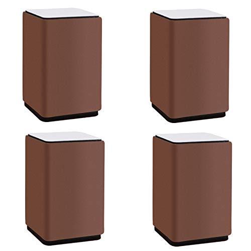 4 MöBelstüCke Beine Tischbeine MöBelbeine Tisch Und Sitzkissen Aus Kohlenstoffstahl Quadratisch ErhöHte Polster(brown10×6cm)