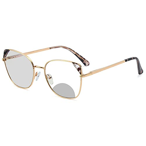 ladies Bifocal reading glasses transition photochromic large frame metal distance and near dual-use magnifying goggles (amber, 0)