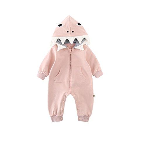 Fairy Baby Bebé Muchachos niñas 3D Traje de tiburón Mameluco Encapuchado Mono Ropa Size 90(18-24 Meses) (Rosado)