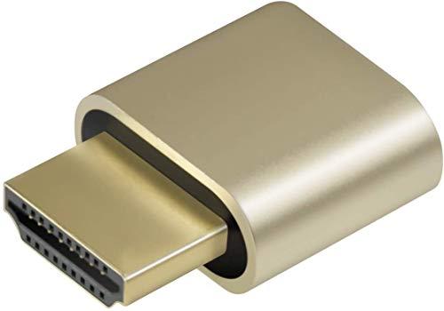 1-Pack Adwits 4K 2K 1080P 30Hz bis 60Hz Unterstützung HDMI Display Emulator DDC EDID Headless Ghost Monitor Adapter Dummy Stecker, Höchste 4096x2160 @ 60Hz - Gold Farbe