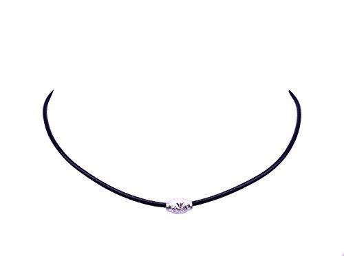 Cozylife Chicas Gargantilla Collar Cuerda de Cuero Collares Cortos Mujeres con Silver/Gold Plated Metal Beads (Plata)