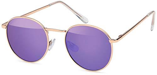 styleBREAKER Sonnenbrille in Panto-Form mit runden Flachgläsern und Metall Bügel, Unisex 09020077, Farbe:Gestell Gold/Glas Lila verspiegelt
