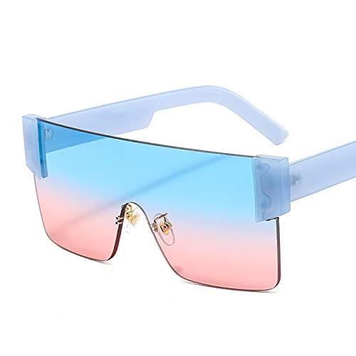 HAOMAO Gafas de sol graduadas de espejo sin montura de gran tamaño Vintage Big Shades para mujeres y hombres azul
