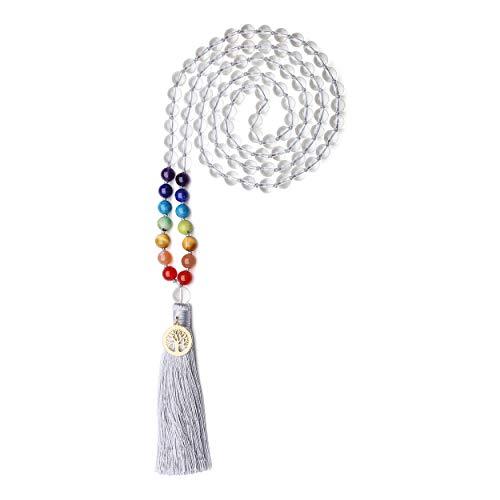 coai Unisex Handgeknüpft 108 Mala Yoga Kette Gebetskette aus Bergkristall und 7 Chakra mit Quaste und Baum des Lebens Charm