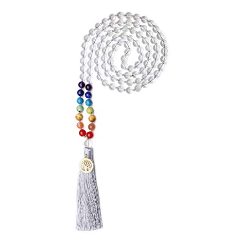 COAI Mala 108 Cuentas Anudadas de Cristal de Cuarzo y 7 Chakras