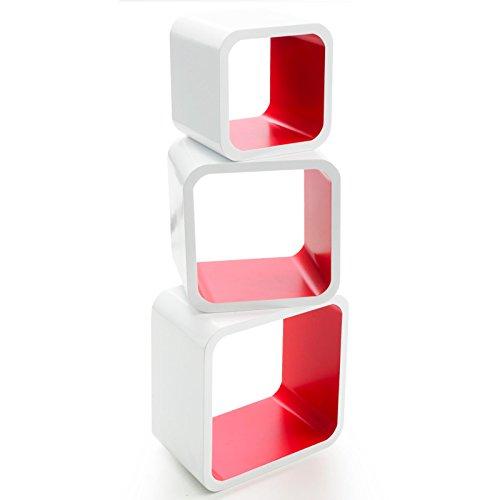casa pura® Design Wandregal Cambridge | Set aus 3 Würfeln | Hochglanz | freischwebend (versteckte Halterung) | gesundheitsfreundliche Materialien | 4 Farben (weiß/rot)