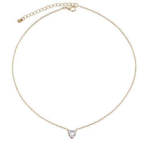 24 JOYAS Gargantilla Color Oro con Corazón de circonita Preciosa y Cadena de 40+5 centímetros, Joya Romántica y Sexy