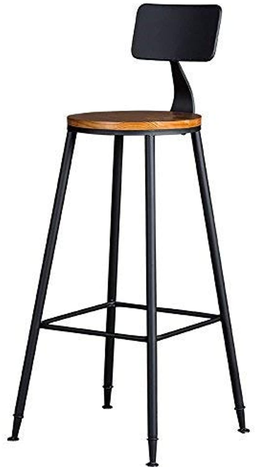 Juexianggou Chair - Retro Bar Stool Iron Bar Chair Table Bar Chair Restaurant Ktv Solid Wood High Table Round Table Backrest High Bar Chair Adult Home Stool Foot Stool for Bedroom