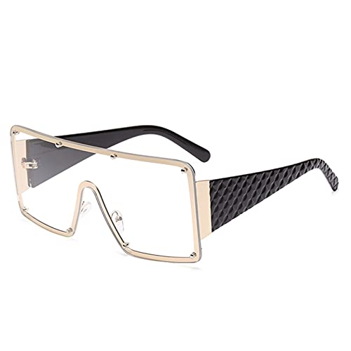 LQG Nueva Tendencia Big Frame Gafas de Sol conjuntas Femeninas Plaza Frameless Océano Gafas de Sol Personalidad Gafas de Tiro de Calle,Blanco