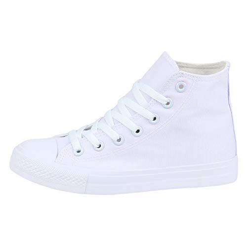 SCARPE VITA Damen Sneaker High Basic Turnschuhe Schnürer Freizeit Schuhe Canvas Stoff Schnürschuhe 178553 Weiss Weiss High 42
