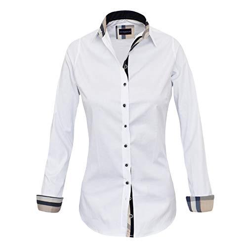 HEVENTON Bluse Damen Langarm in Weiß Hemdbluse - Größe 36 bis 50 - elegant und hochwertig Farbe Weiß, Größe 46