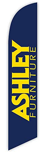 Cobb Promo Advertising Feather Flag 12ft for Ashley Furniture (Blue) - Replacement Flag Only (Without Poleset)