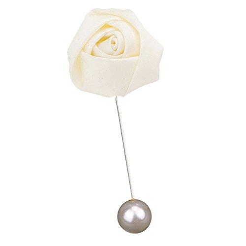 joyMerit Fait à La Main Rose Fleur Broche Boutonnière Costume épinglette Accessoires de Fête de Mariage - Beige