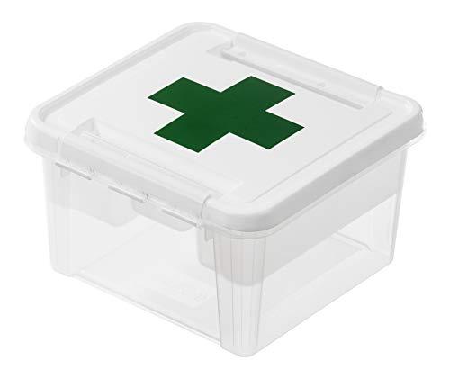 Hammarplast 3597110 Clipbox Smart Store Deco First Aid - Caja de plástico con Cierre de Clip con Bandeja compartimentada, 28 x 28 x 17 cm, 8 L