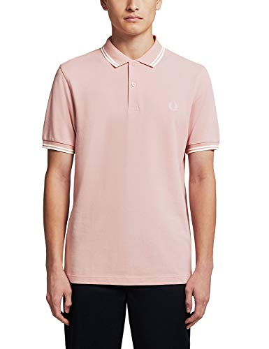 Fred Perry Twin Tipped Polo para hombre, Rosa claro - Blanco, small