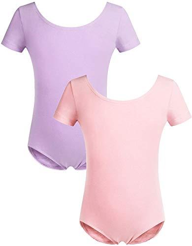trudge 2er Packung Ballettanzug Mädchen Kurzarm Ballettkleidung Tanzbody Gymnastikanzug Kinder Balletttrikot Tanzkleid aus weichem Baumwollstoff