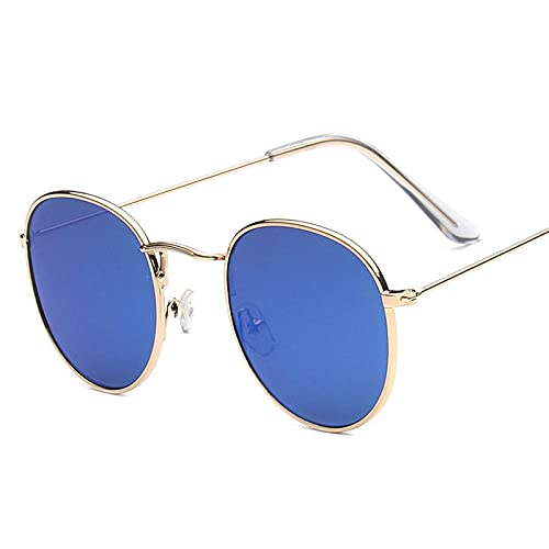 qiufeng Gafas de Sol Redondas con Montura pequeña clásica Mujer/Hombre Gafas de Sol con Espejo de aleación de diseñador Vintage Azul Marino