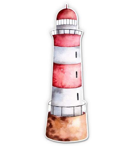 Cute Lighthouse Watercolor - 3' Vinyl Sticker - For Car Laptop I-Pad Phone Helmet Hard Hat - Waterproof Decal