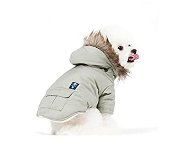 PetBoBo Cat Dog Doggie Down Jacket Hoodie Coat Pet Clothes Warm Clothing for Small Dogs Winter Beige XS