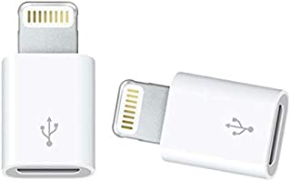 2 Packs Apple Lightning to Micro USB Adapter for iPhone iPad with Lighting Slot