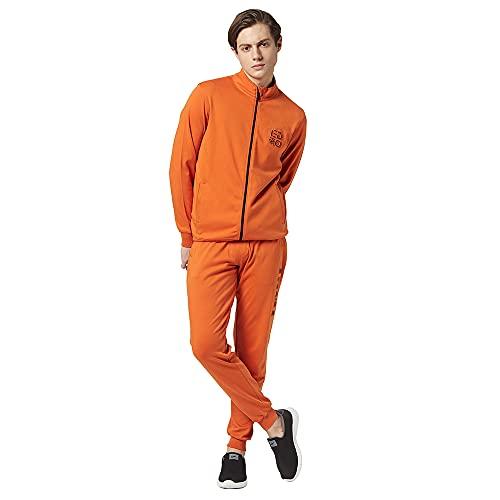 EDRIO Men Orange Cotton Zip Up Tracksuit with Embossed Logo