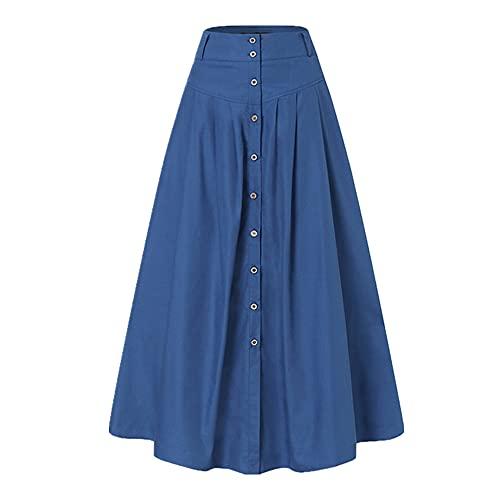 NP Elegante botón faldas mujeres otoño Sundress Casual cintura alta vestidos largos