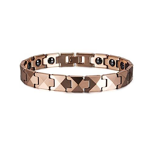 PPuujia Collar con colgante de flecha, pulsera de tungsteno, color oro rosa, para amantes de la salud, de tungsteno, pulsera magnética de hematita (color de metal: R caja de mujer 18)