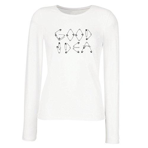 lepni.me Camisetas de Manga Larga para Mujer Una Idea Buena - Diseño Divertido para Frikis y empollón, Idea Perfecta de Regalo Divertido (Medium Blanco Multicolor)
