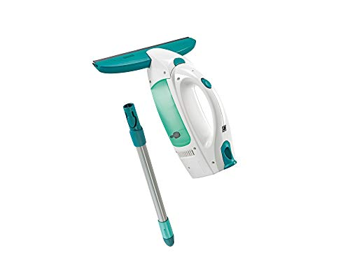 Leifheit Set de aspirador limpiacristales Dry & Clean con palo 43 cm., limpiaventanas para limpieza 360º, aspiradora vertical, 38 minutos de autonomía