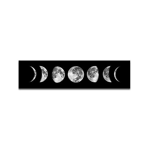 OCIOLI Moon Phrase Canvas Wall Art Print Unframed,Artwork Abstract Space Black and White Galaxy Pictures for Living Room Bedroom (12x47 inch, Black)