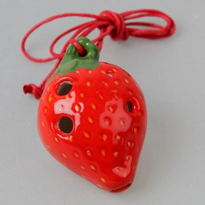 Strawberry 4 Holes Novelty Pendant Ceramic Ocarina. Great Gift, Dexterous, Easy to Carry and Learn. Linn's Arts!