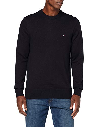 Tommy Hilfiger Pima Cotton Cashmere Crew Neck Maglione, Black Heather, M Uomo