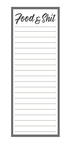 Food & Shit Grocery List Notepad - with Magnet | For Shopping and To Do Lists, Funny Magnetic Note Pad for Refrigerator, 3x8 Inches, 50 Sheets