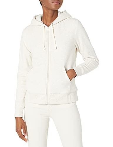 Amazon Essentials - Jersey con capucha, forro polar sherpa y cierre de cremallera completa para mujer, Beige (Oatmeal Heather), US S (EU S - M)