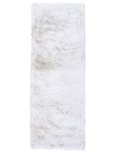 CarpetFine Tappeto a Pelo Lungo Breeze passatoia Bianco 75x200 cm | Tappeto Moderno per Soggiorno e Camera da Letto