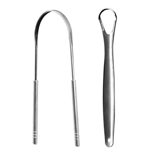 HEALLILY 2Pc Tongue Scraper,Stainless Steel Tongue Cleaner for Adults Kids