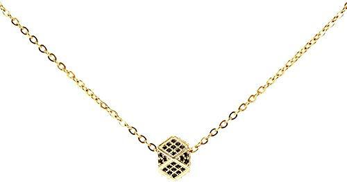 OlovdHit Halskette Damen Halskette Liebeswürfel Mikro-Verkrustete Weibliche Modelle Sechs Quadratische Paar Perfektes Schmuck Geschenk