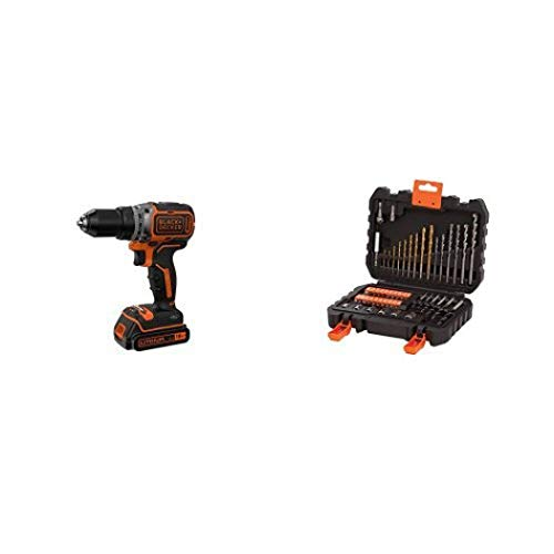 Black+Decker BL186K-QW Taladro Atornillador con 2 Velocidades y Motor Brushless, 18 V + BLACK+DECKER A7188 - Set de 50 piezas con brocas y puntas para atornillar y taladrar