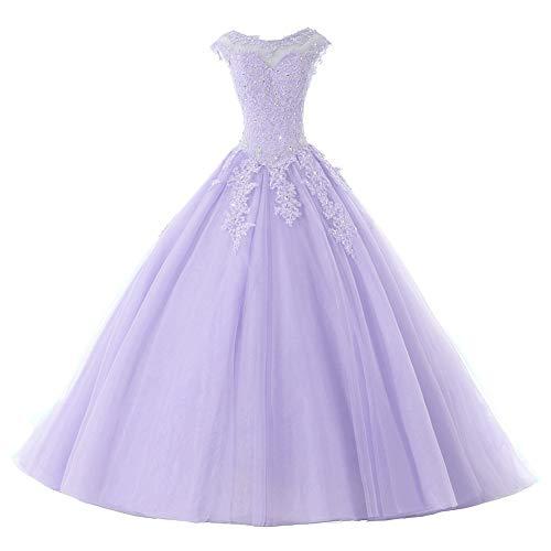 Ballkleider Lang Prinzessin Quinceanera Kleider Tülle Brautkleid Abendkleider A-Linie Partykleid Festkleider Lila 50