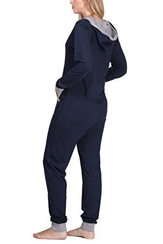 maluuna – Damen Jumpsuit, Onesie, Overall, Einteiler mit Bündchen an Arm- und Beinabschluss aus 100% Baumwolle Farbe:Navy/grau-Melange - 2