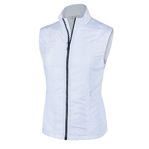Monterey Club Women's Lightweight Rhinestone Zipper Vest #2788 (White, Large)