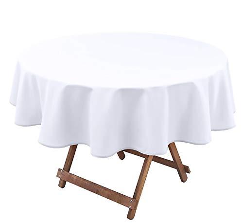 Mantel de Mesa Rectangular Redondo Unicolor Liso, Lavable 100% poliéster, Cubierta Cuadrada para Decoración o Banquetes de Fiesta (Blanco, 140 Redondo)