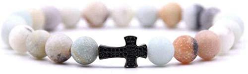 GIAOYAO Pendientes Aros, 7 Chakra Perlas de Piedra Natural Jasper elástico Brazalete Negro Cruz joyería Yoga energía Equilibrio Encanto difusor Mujer Pulsera Regalo